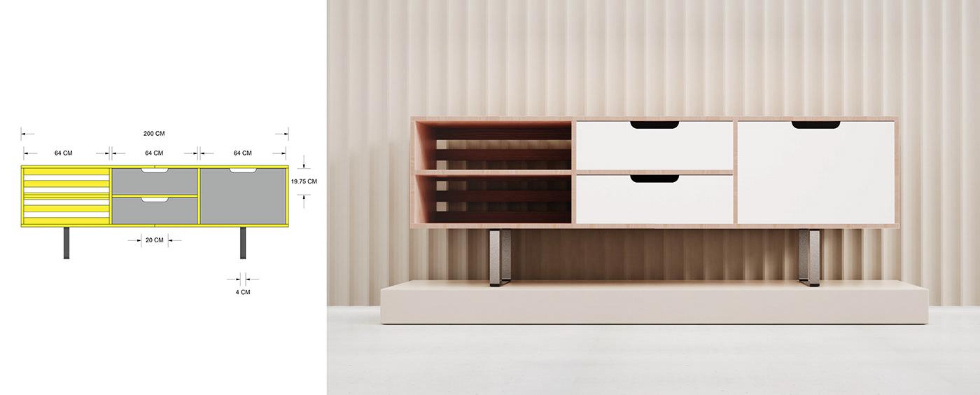 console credenza furniture furniture design  inkstudios inkstudiosdesign Inkstudiosllc modern wood