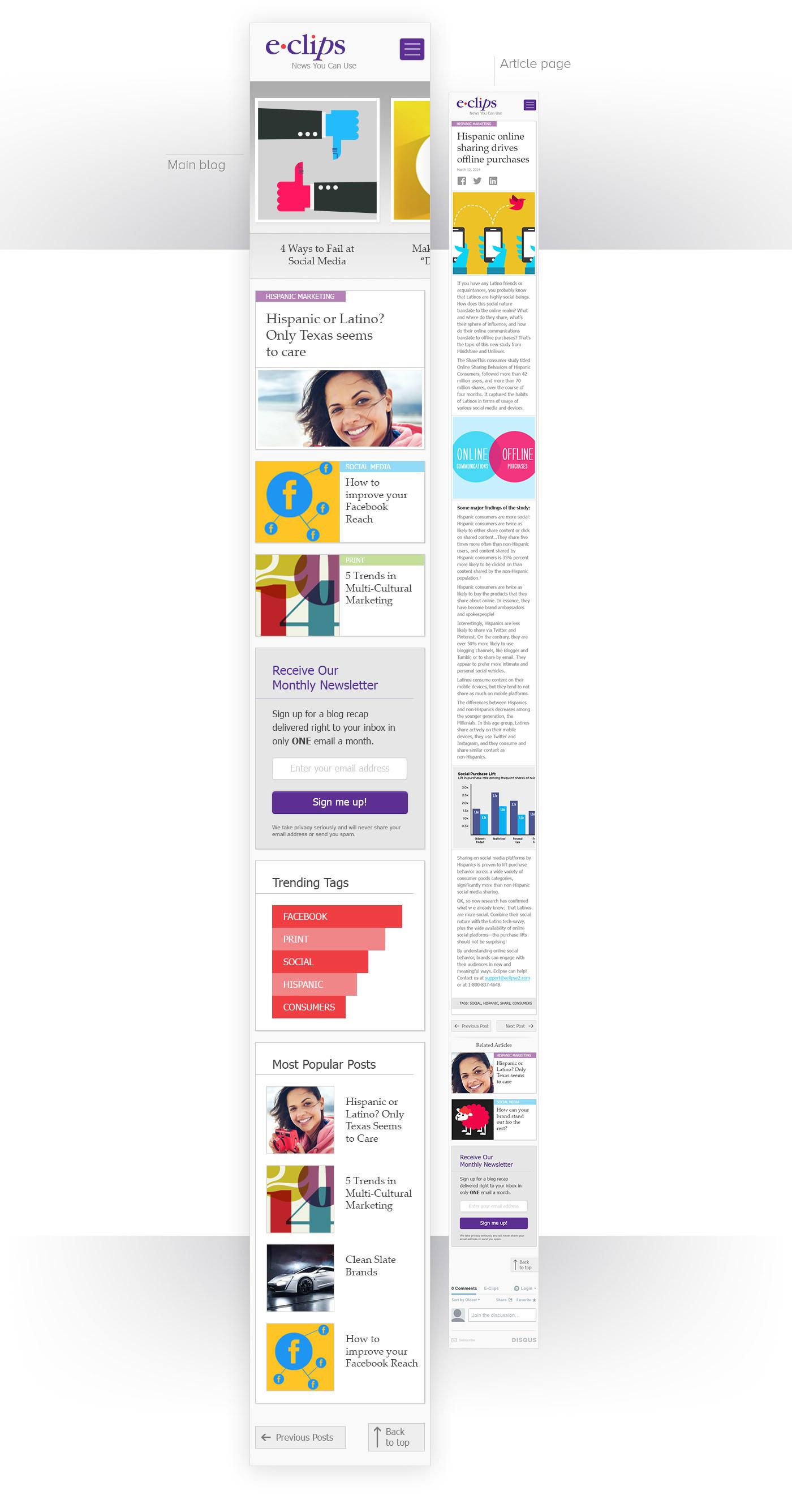 Blog Respsonive desktop tablet mobile user interface user experience style sheet