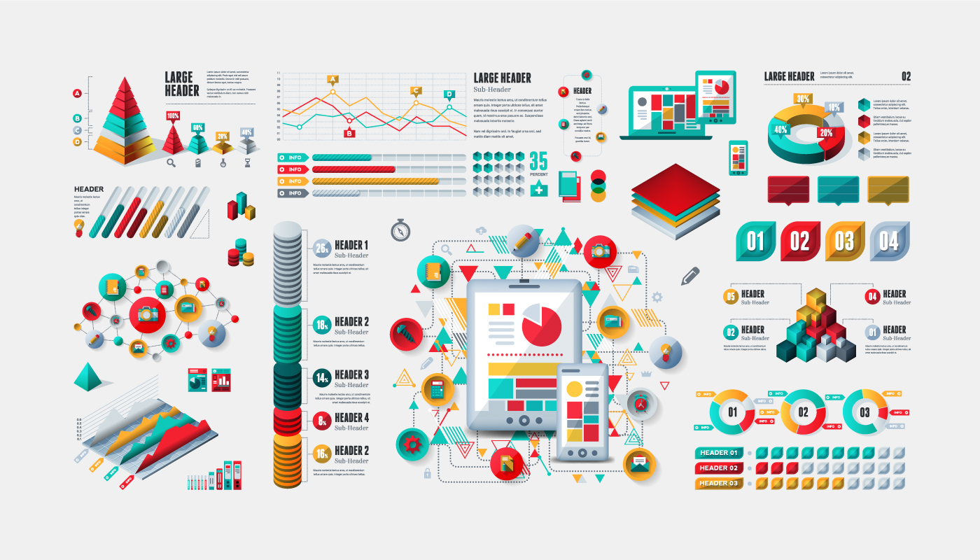 infographic design element stock vector Graphs Charts template digital modern Data abstract