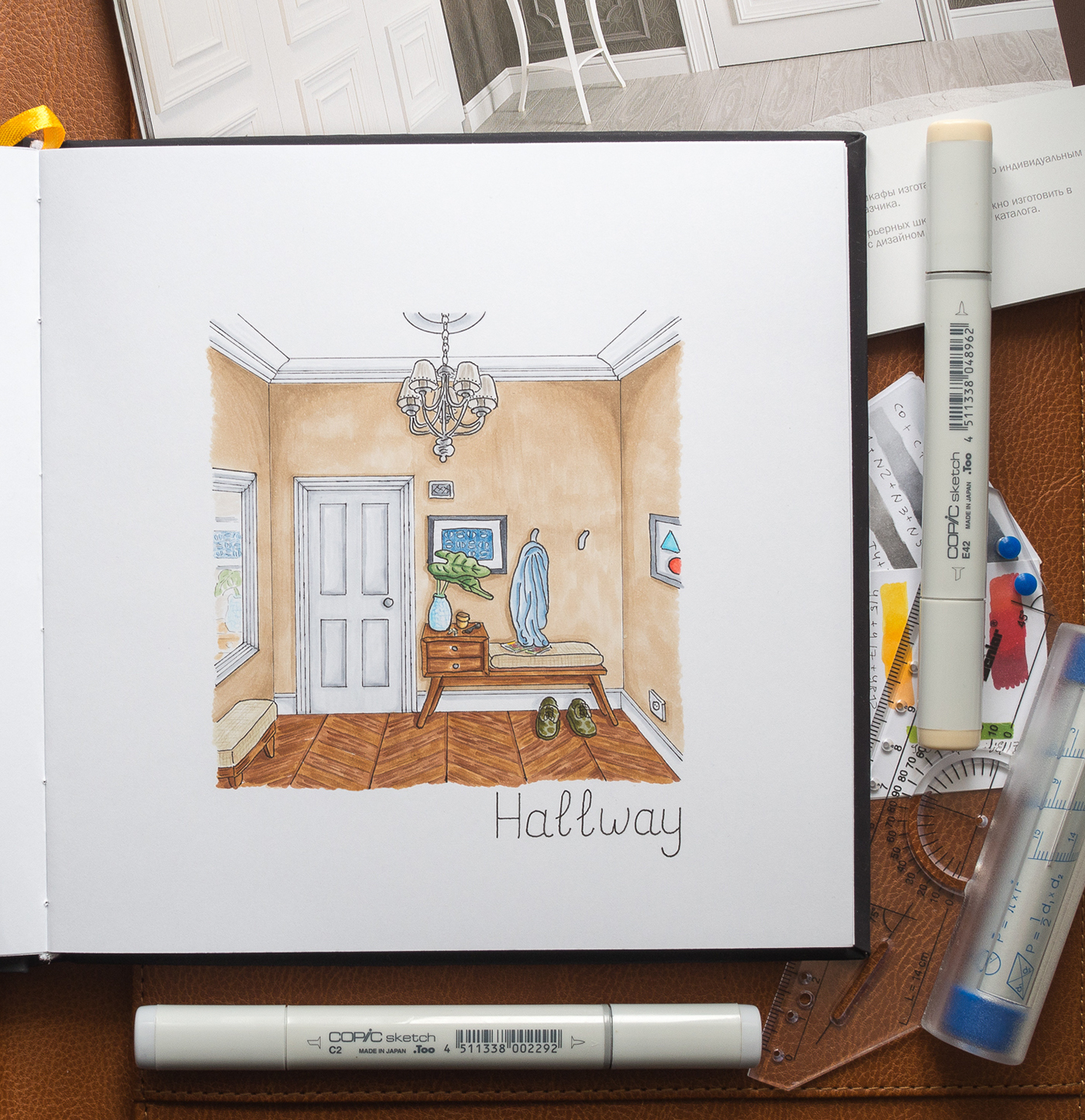 Home Interior Sketches 1 Copic Markers On Behance