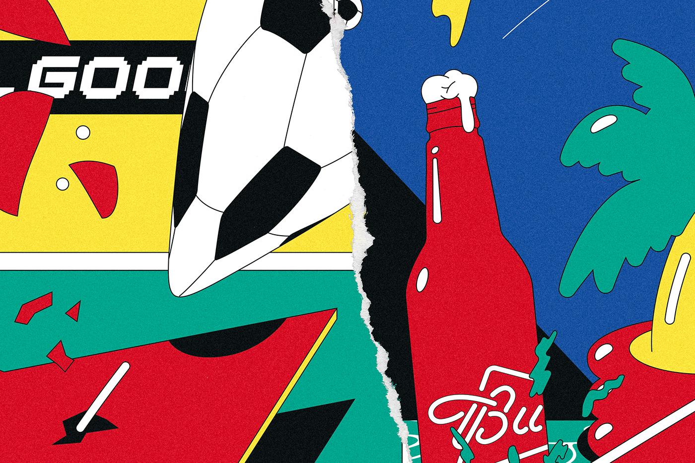 ILLUSTRATION  wearebuerobuero STEFANMUECKNER JULIANFAUDT Budweiser WABB art poster football BüroBüro