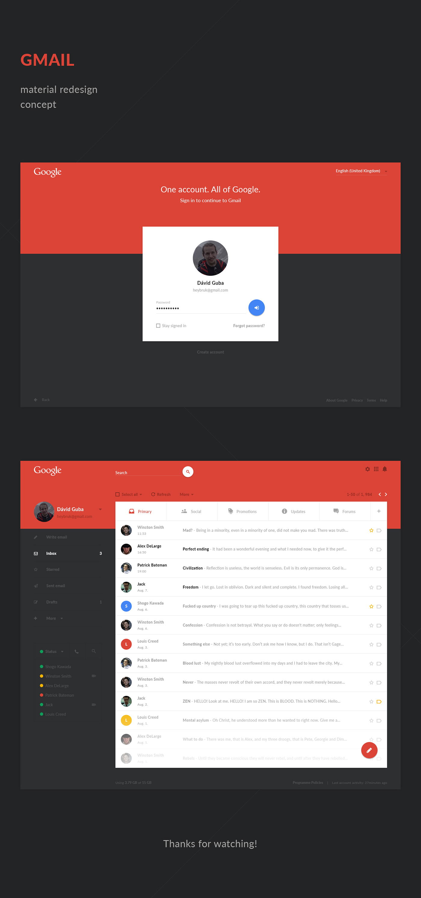 GMail google redesign material photoshop
