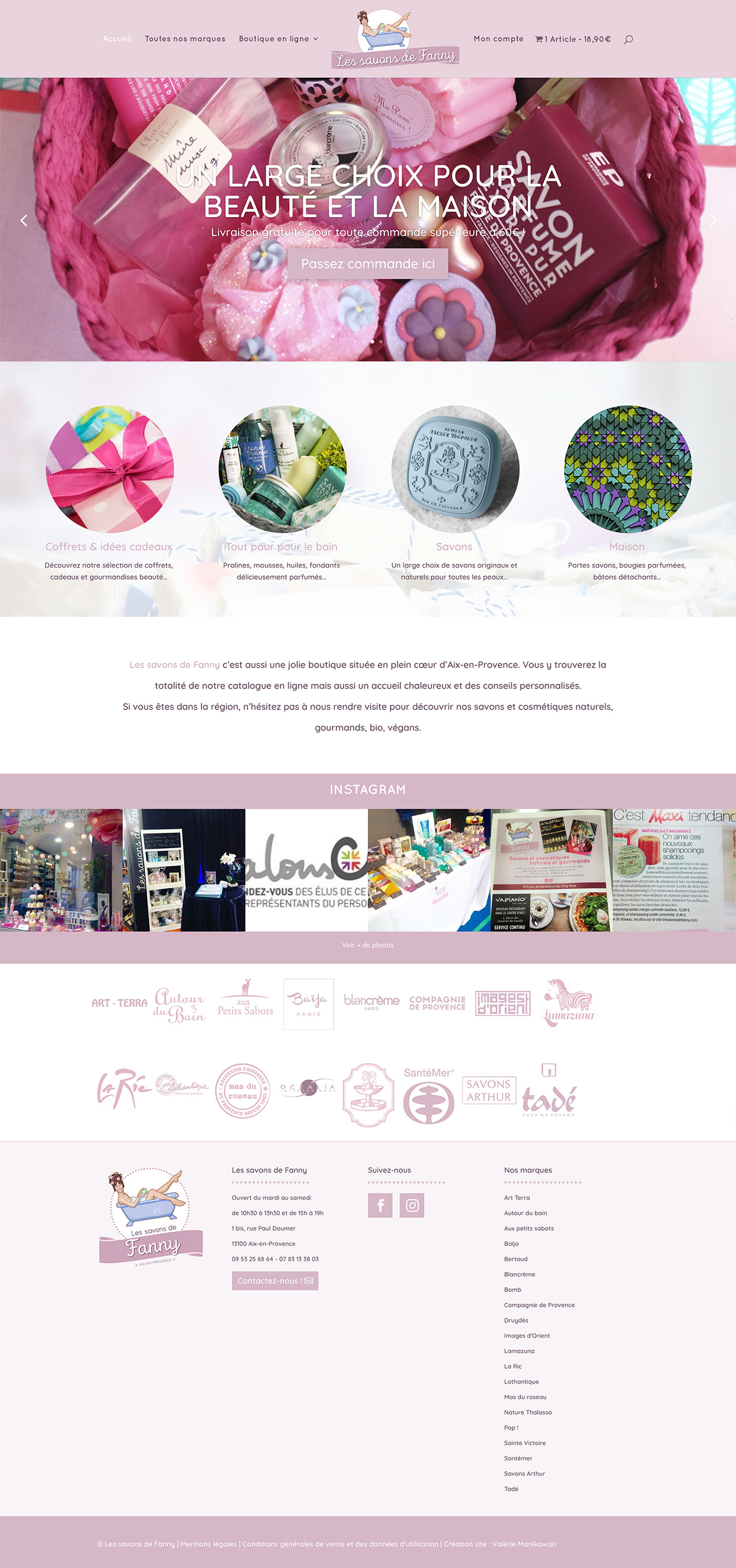 Webdesign Ecommerce savons beauty pink bathroom