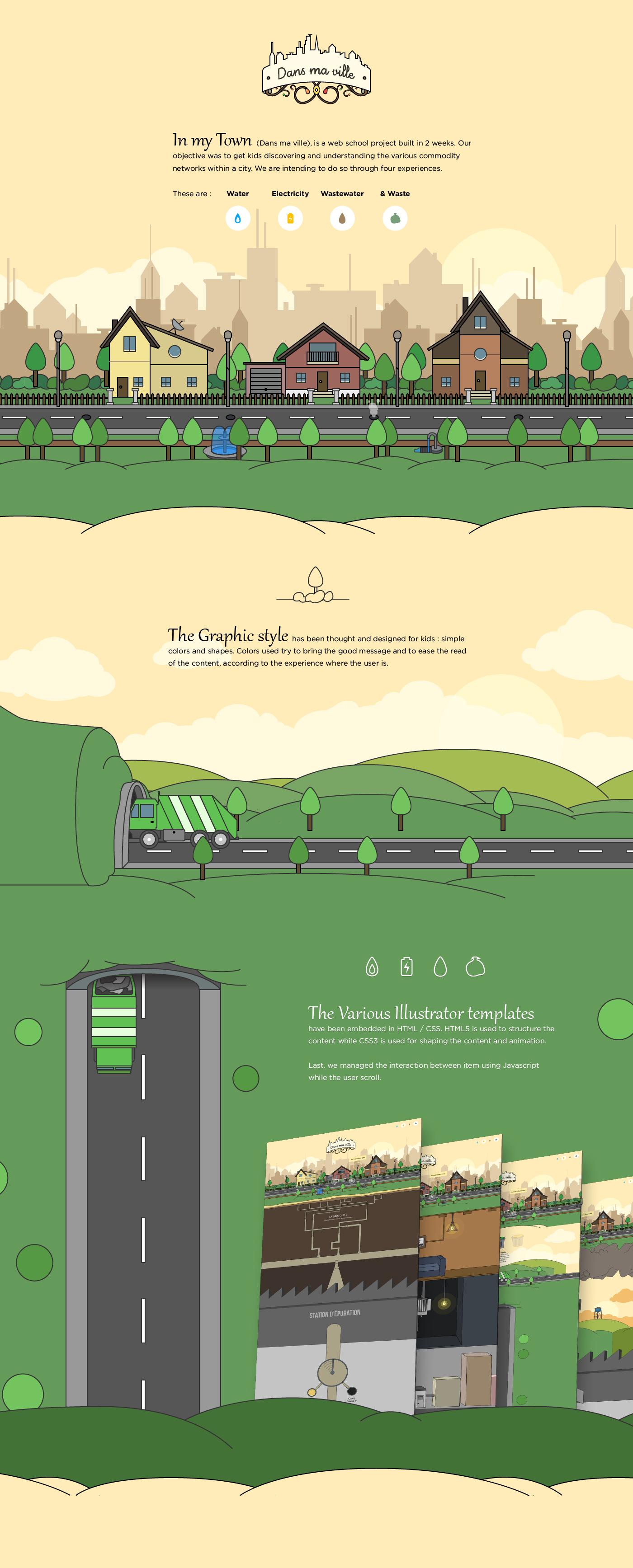 illustrations dans ma ville scroll flat design hetic prototype Ecology network city ville