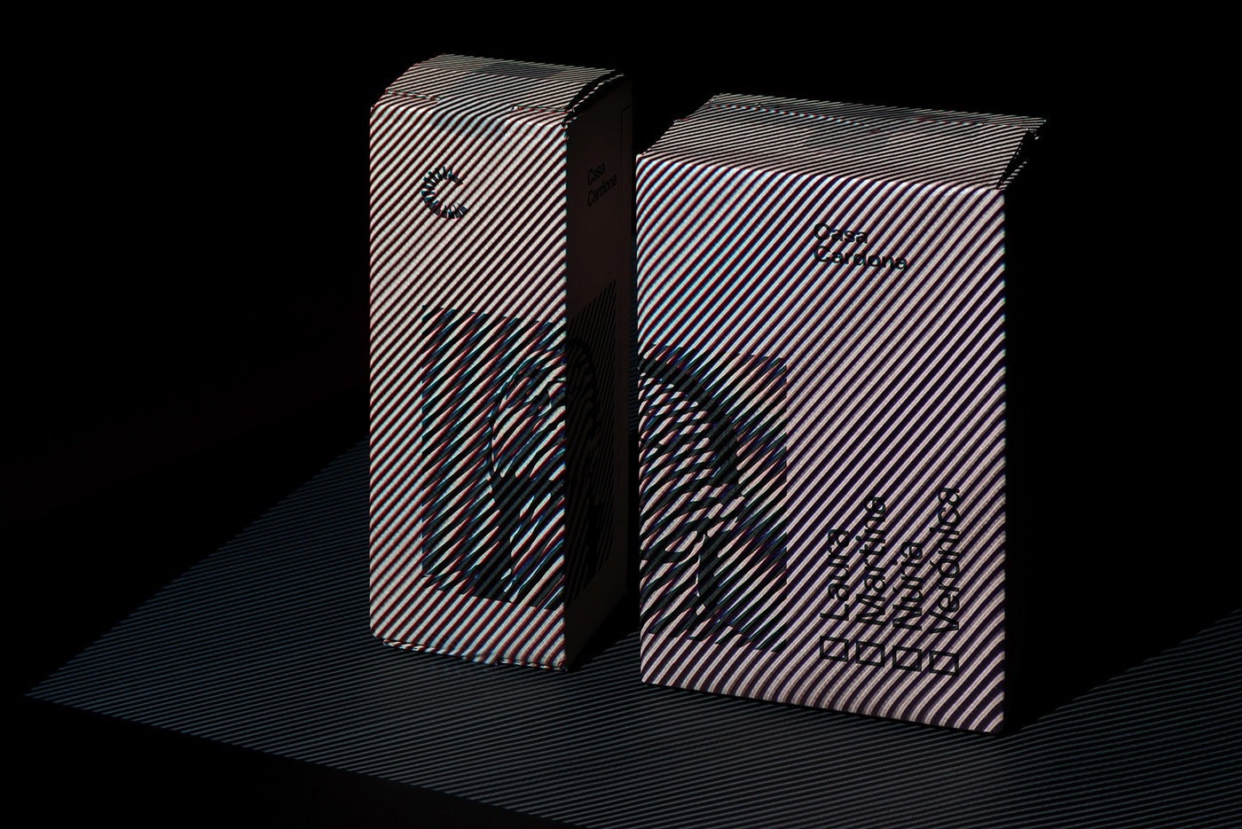Casa Cardona wines. Group shot of the boxes with diagonal stripes lighting effects over