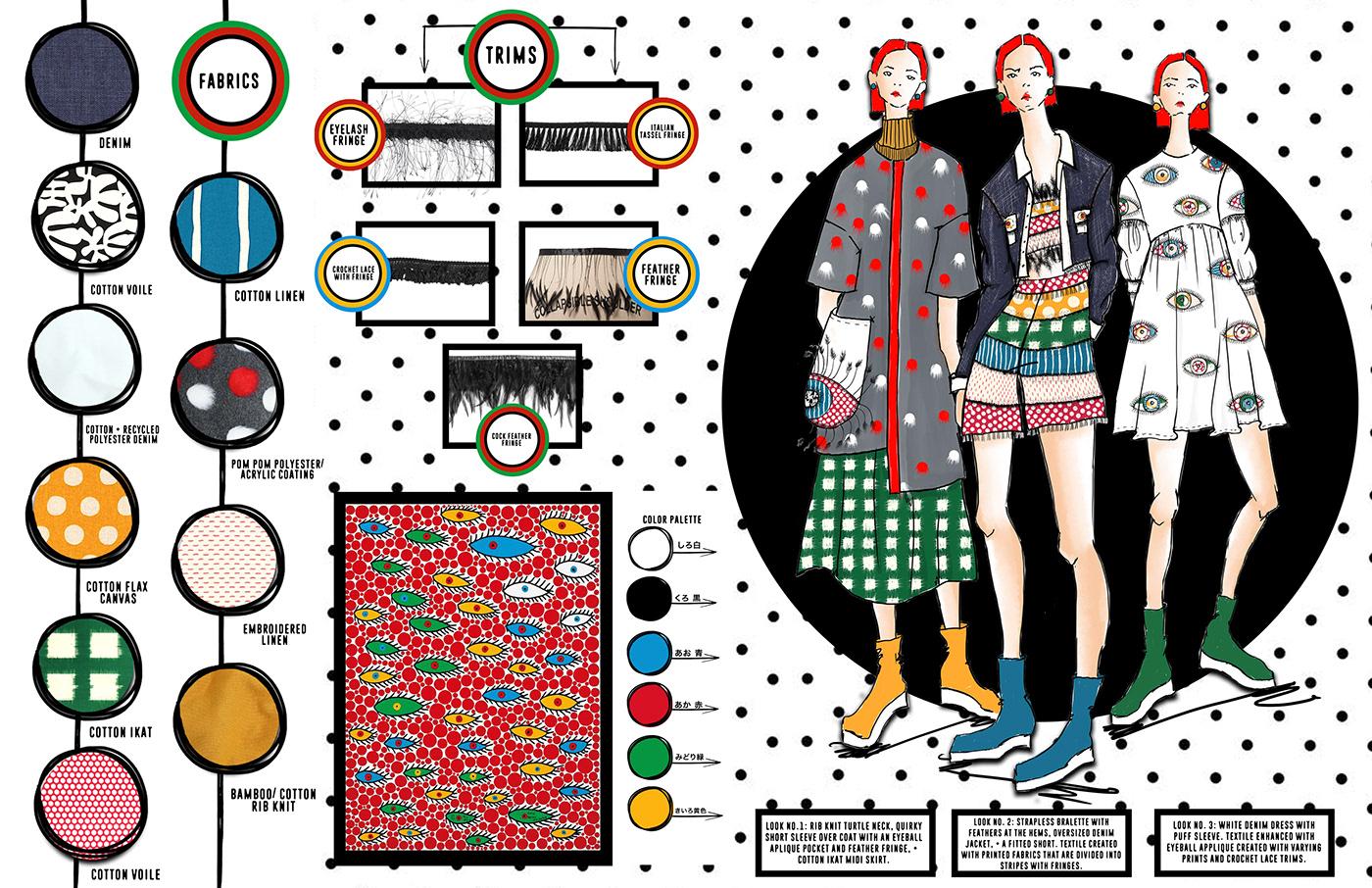 Adobe Photoshop color story concept development fabrication fashion design fashion illustration iterations kusama unconventional