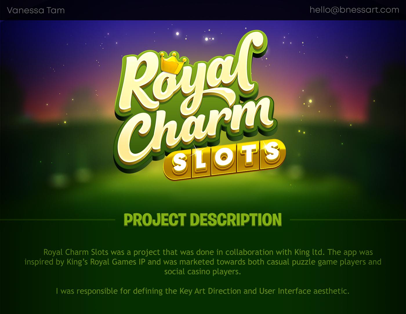 casino Charms king mobile game royal slot Slots social casino Character design  UI