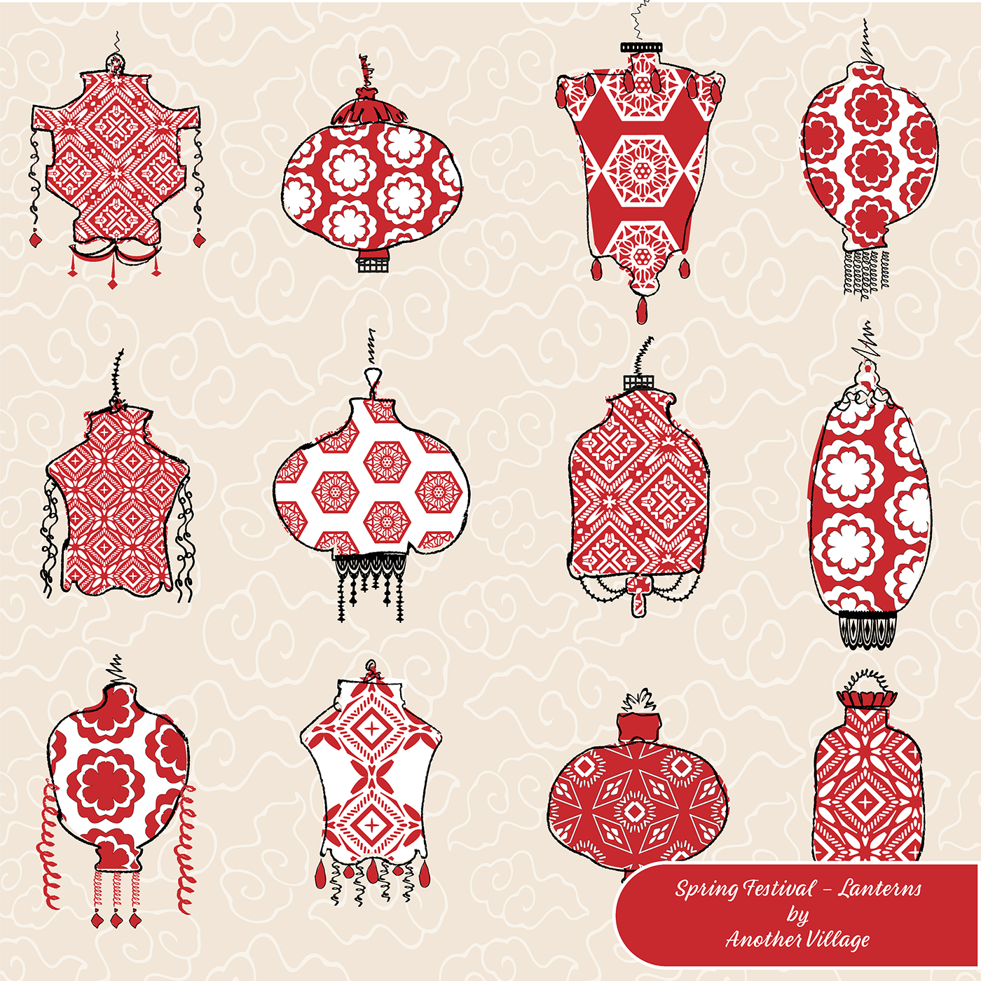 spring festival chinese new year lanterns and redwhite patterns