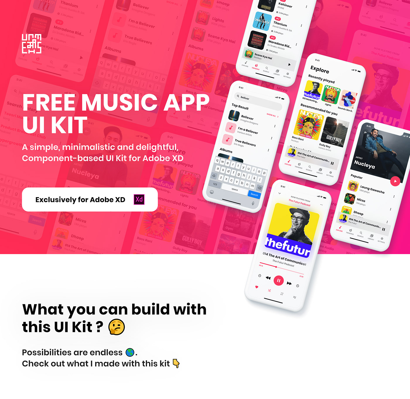 Free Music App UI Kit for Adobe XD