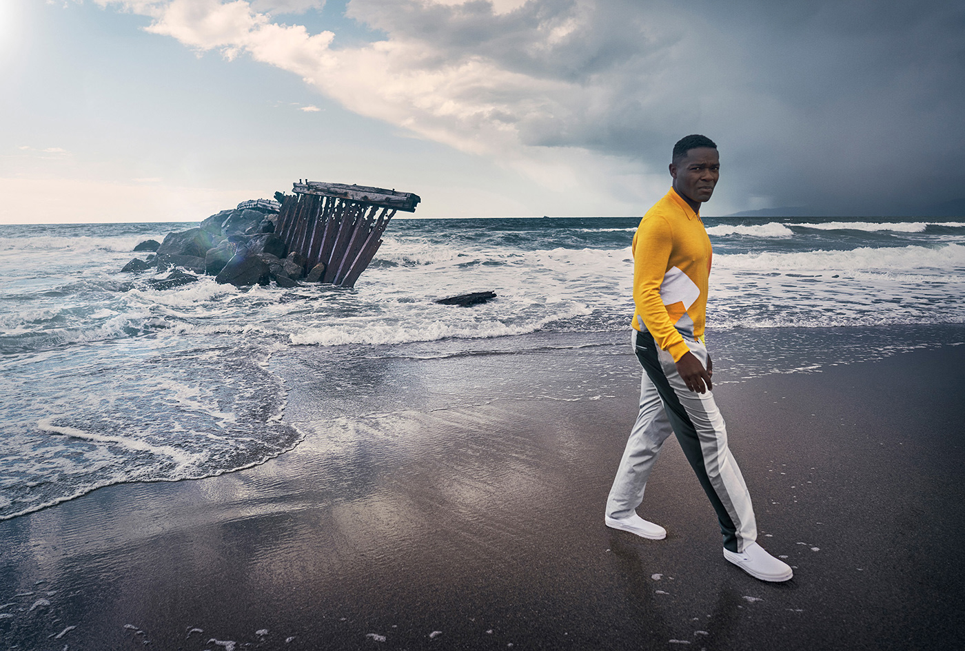 Actor David Oyelowo for Alexa Magazine photographed by the sea.
