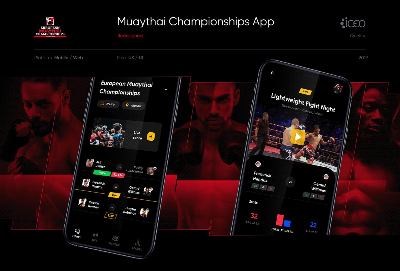 ux UI fight Boxing Muaythai sport app design mobile Fight app
