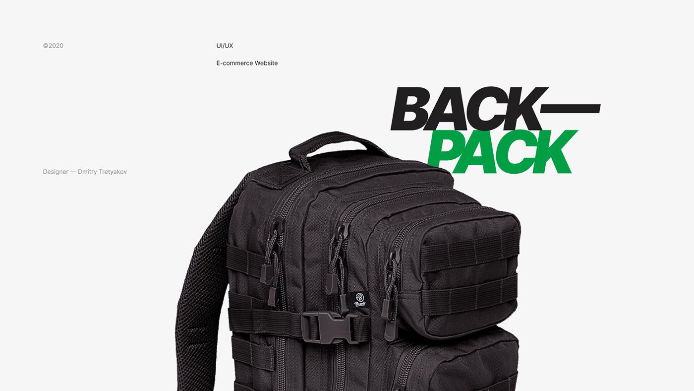 e-commerce Ecommerce green online shop store ux Web Design  Website backpack