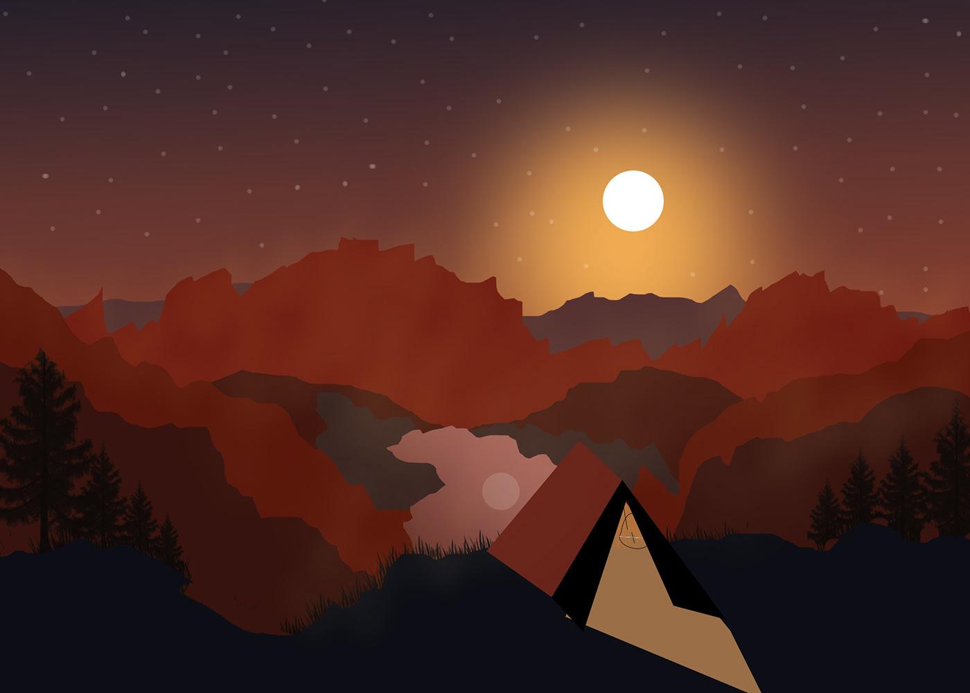 Image may contain: sunset, screenshot and moon