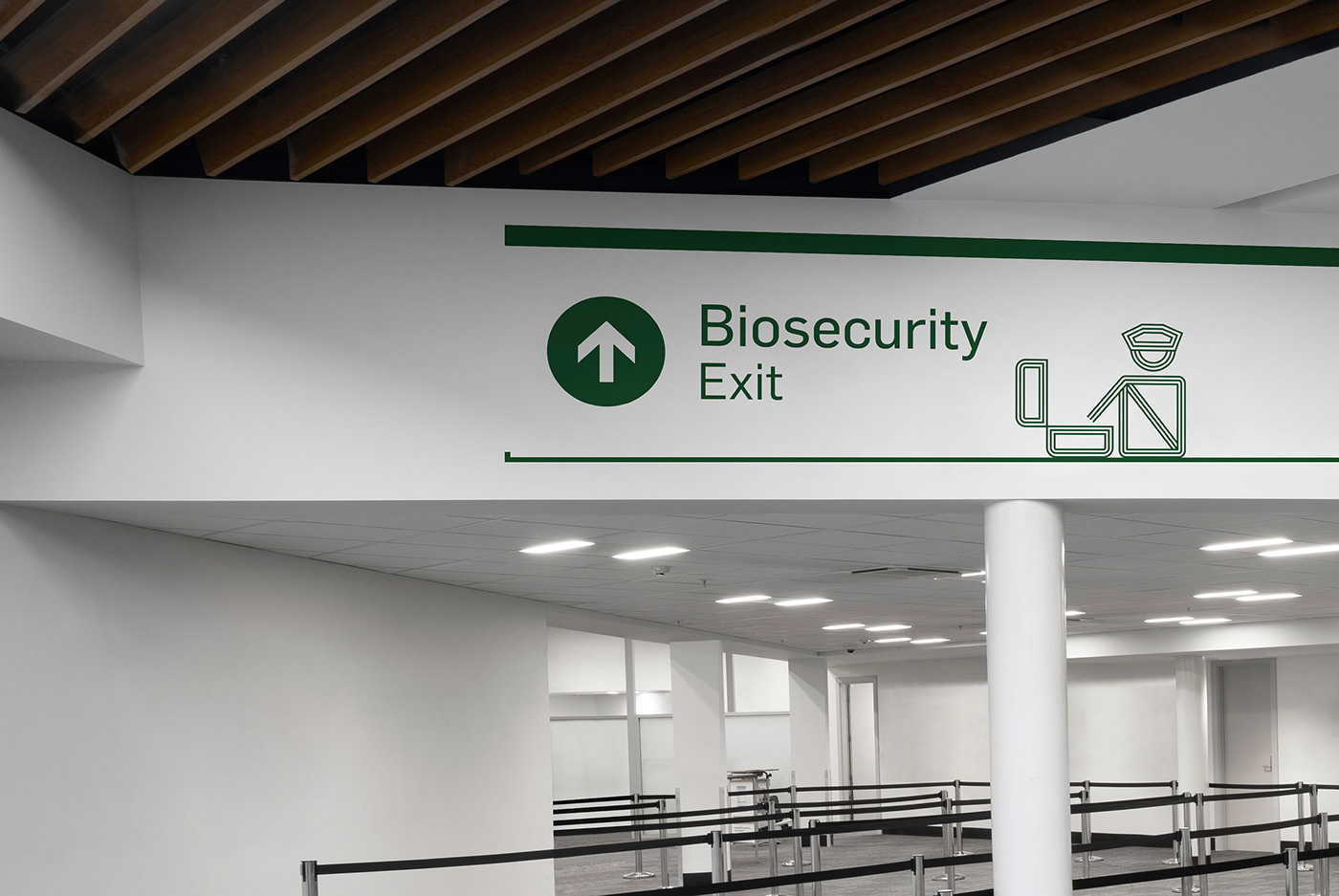 wayfinding airport New Zealand queenstown pictograms icon set signage system concept development Space design visual identity