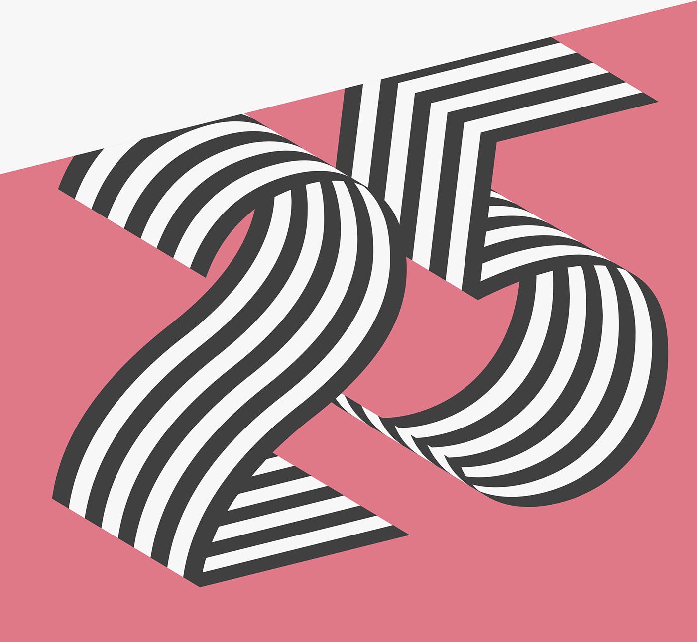 font Typeface 3D layered stripes Retro ribbon contemporary Display sans serif