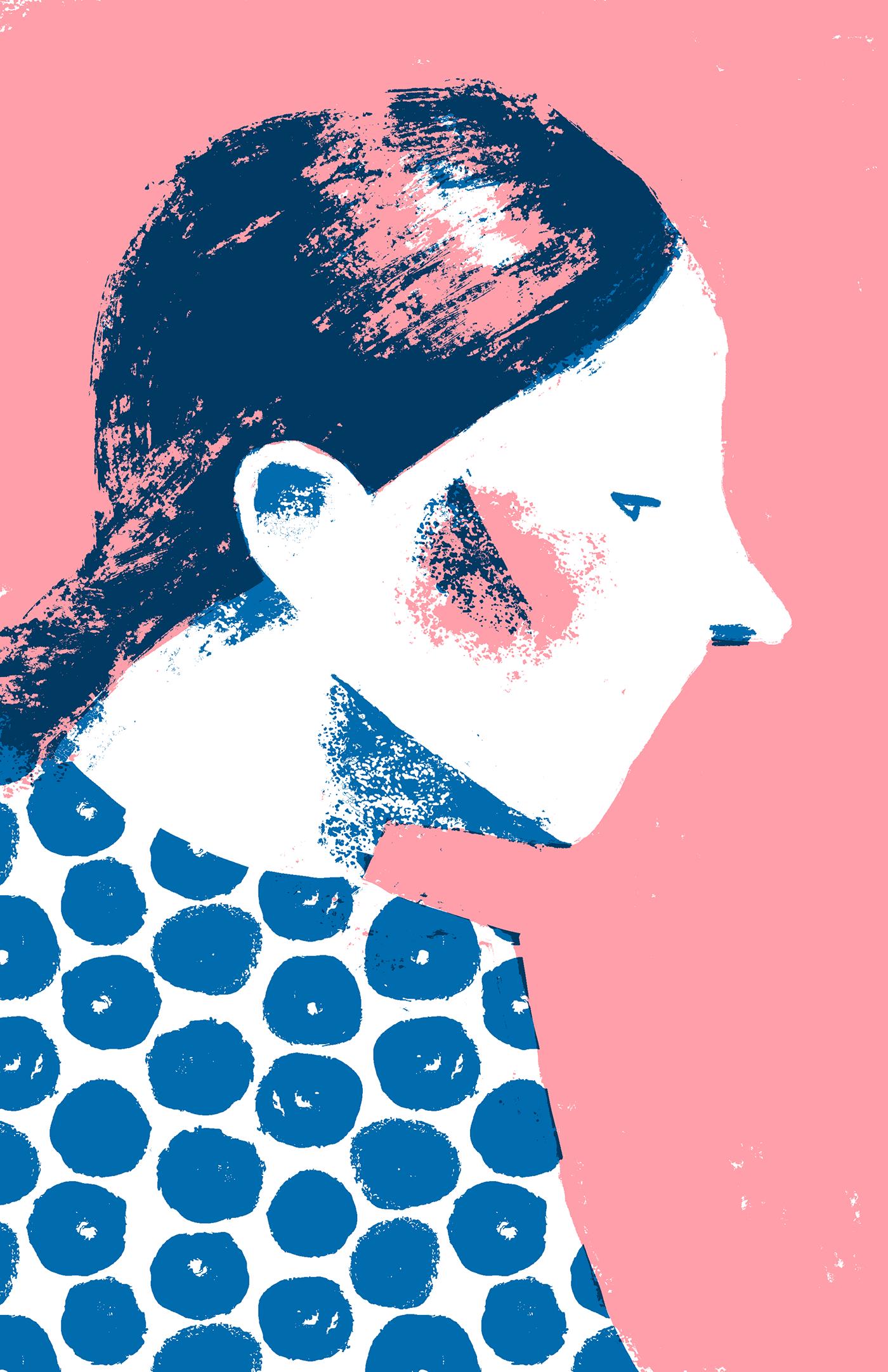 girl minimal portrait Retro screenprint two colors vintage