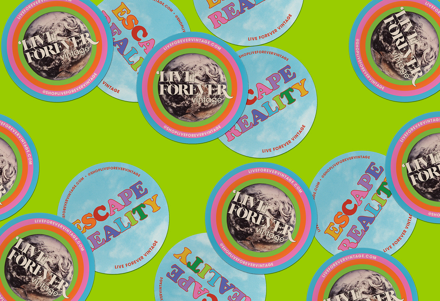 Stickers scattered on a lime green background
