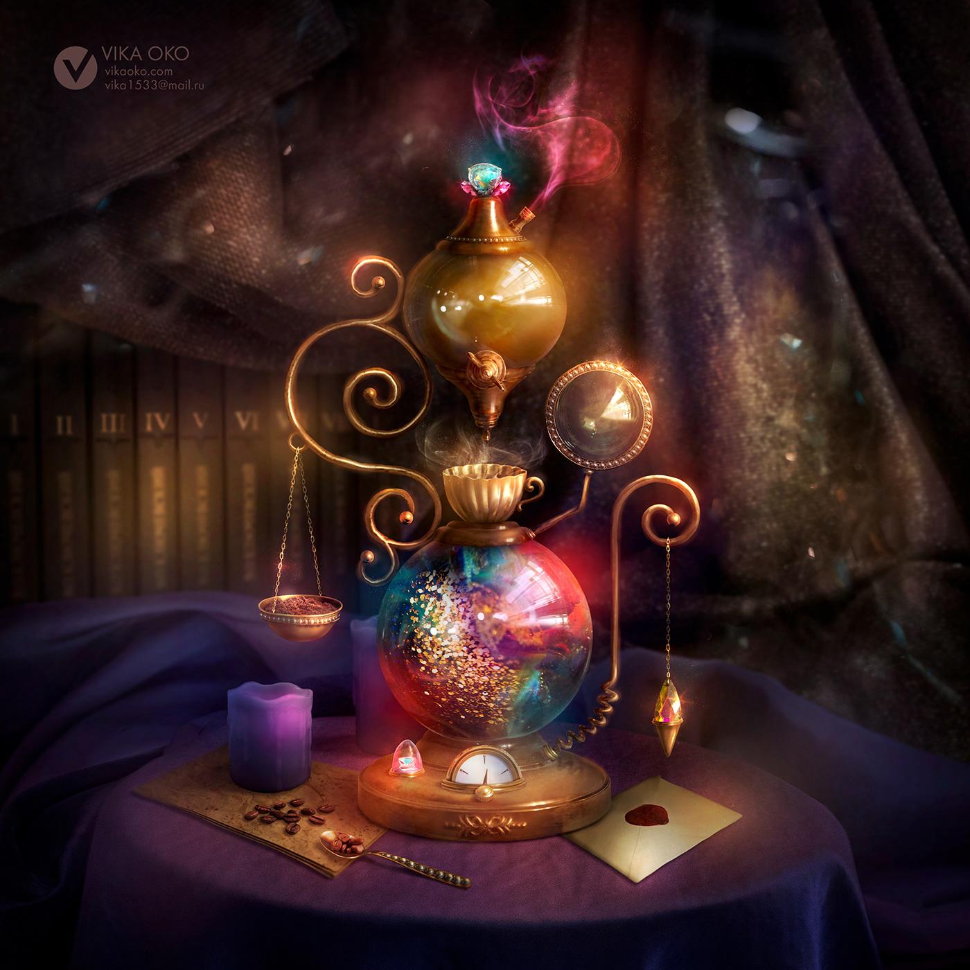 ILLUSTRATION  Digital Art  photo collage Magic   fantasy divination concept Visual Development concept art