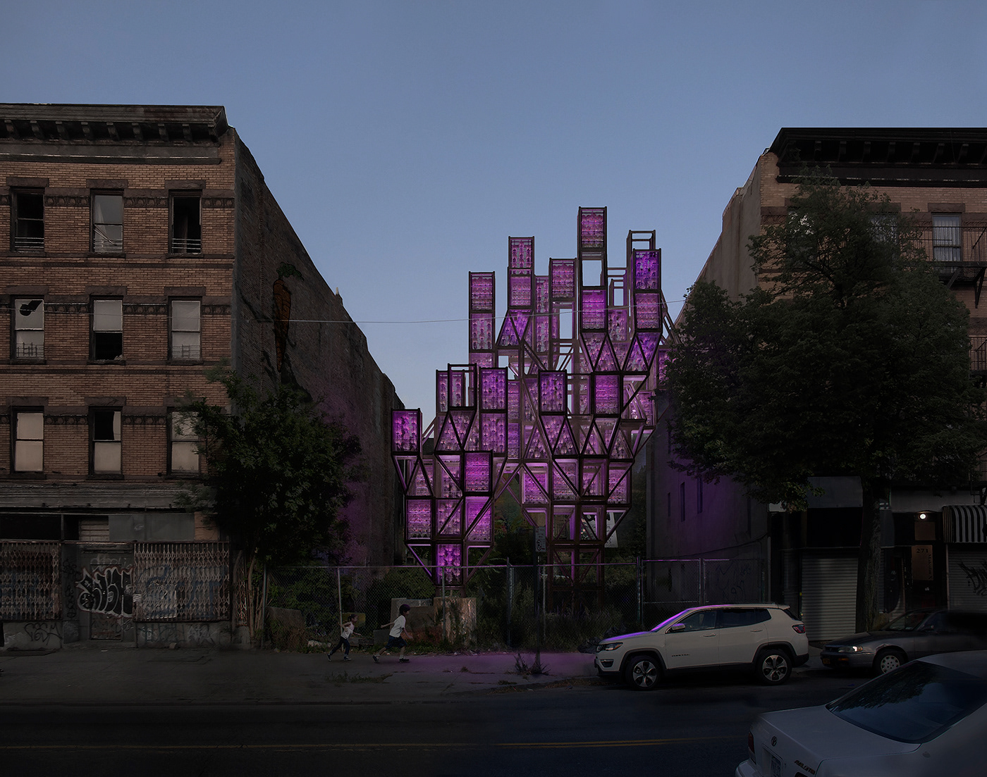architecture product farm vertical agriculture Brooklyn nyc modular installation interaction
