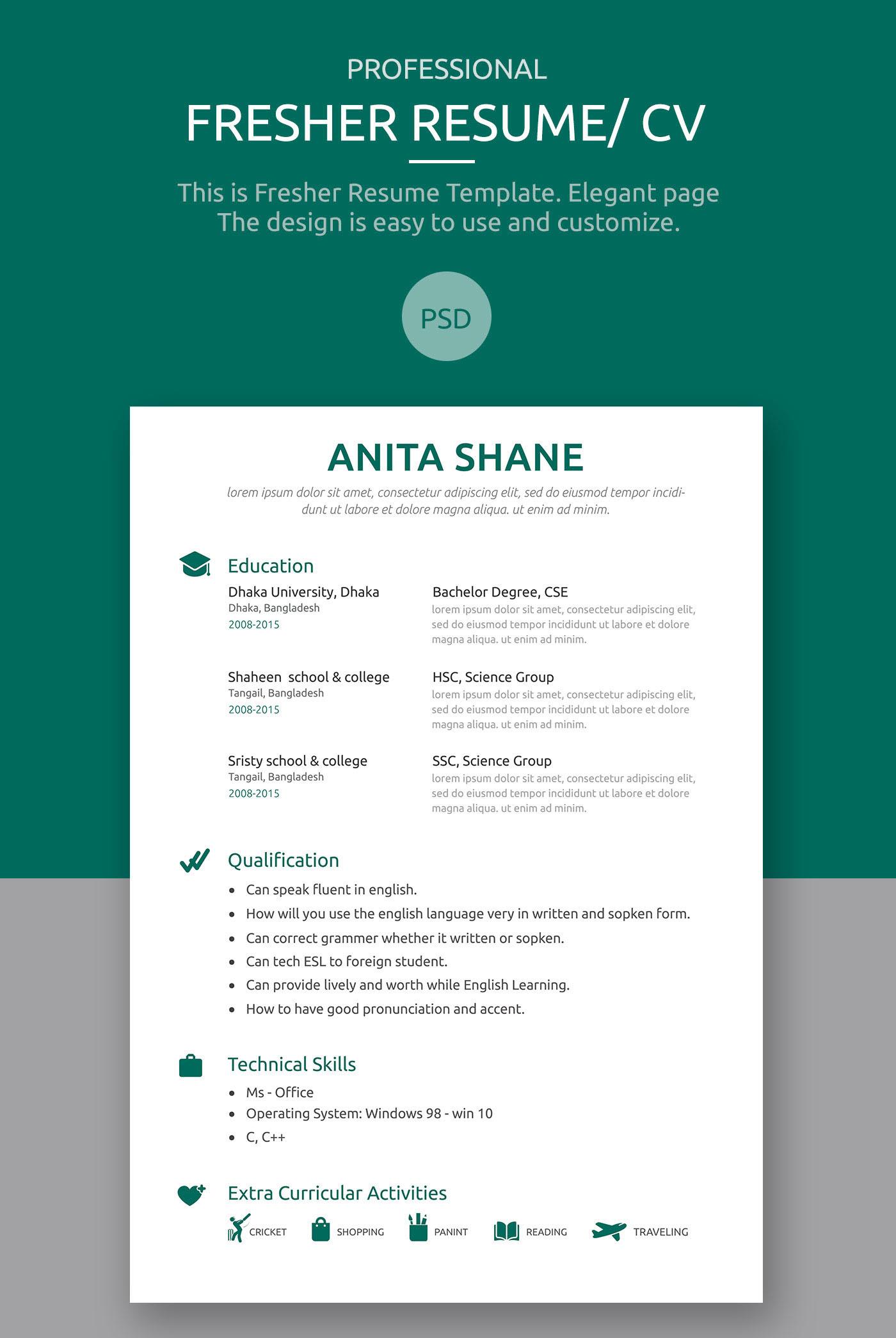 fresher resume template on behance