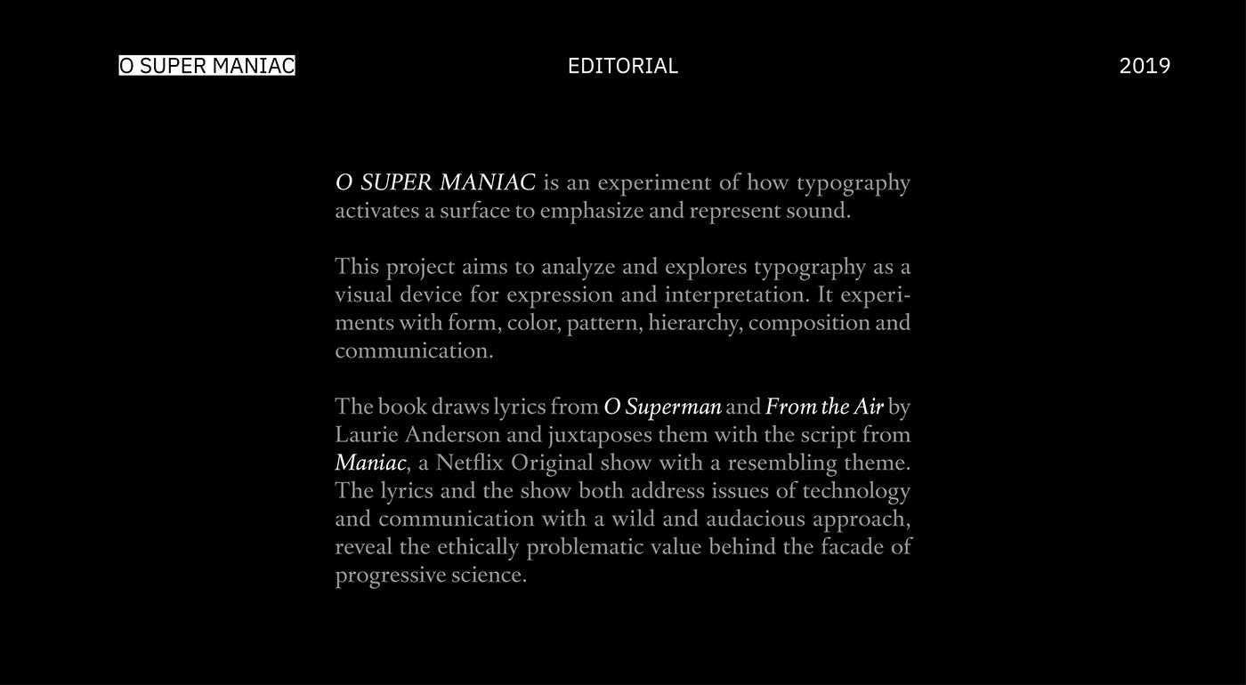 O SUPER MANIAC - Book Design on Behance