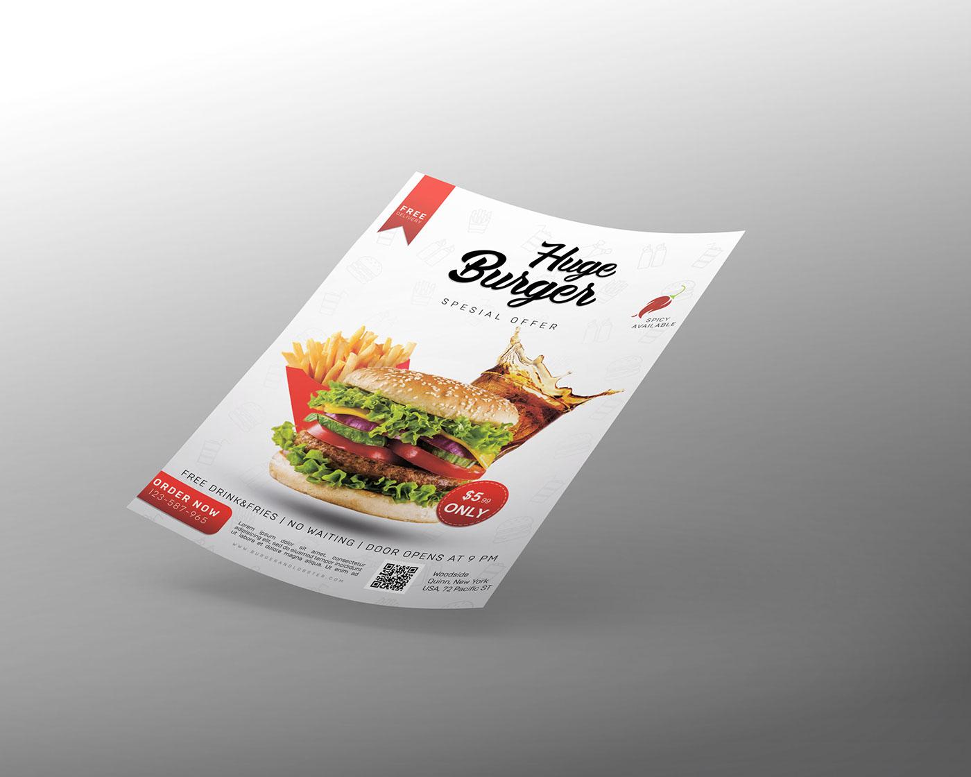 burger flyer free psd design olhaahafonova флаер флаєр бургер mock-up mockup download