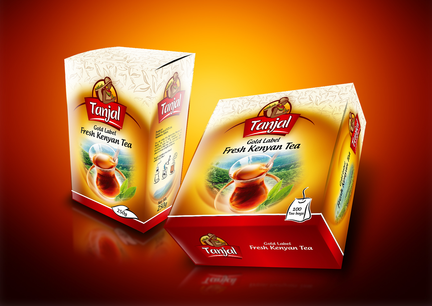 tanjal tea packaging design on behance
