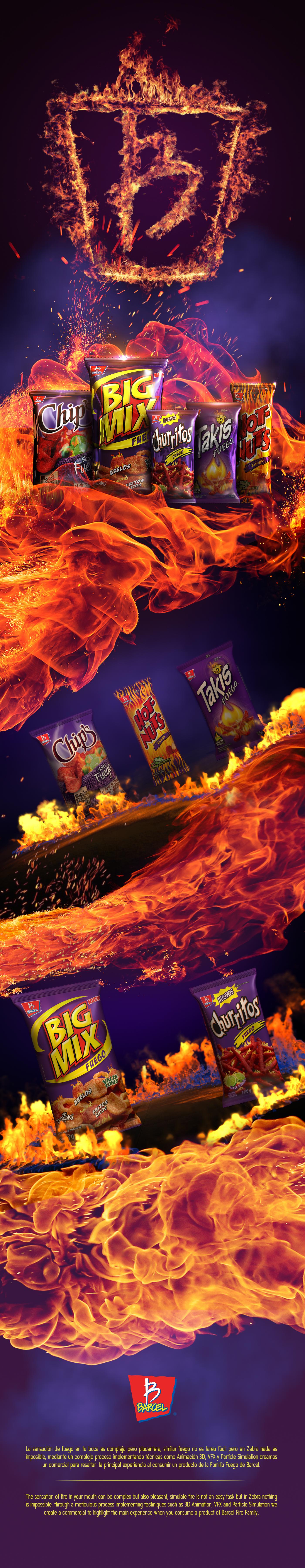 3D simulation snacks fire logo barcel
