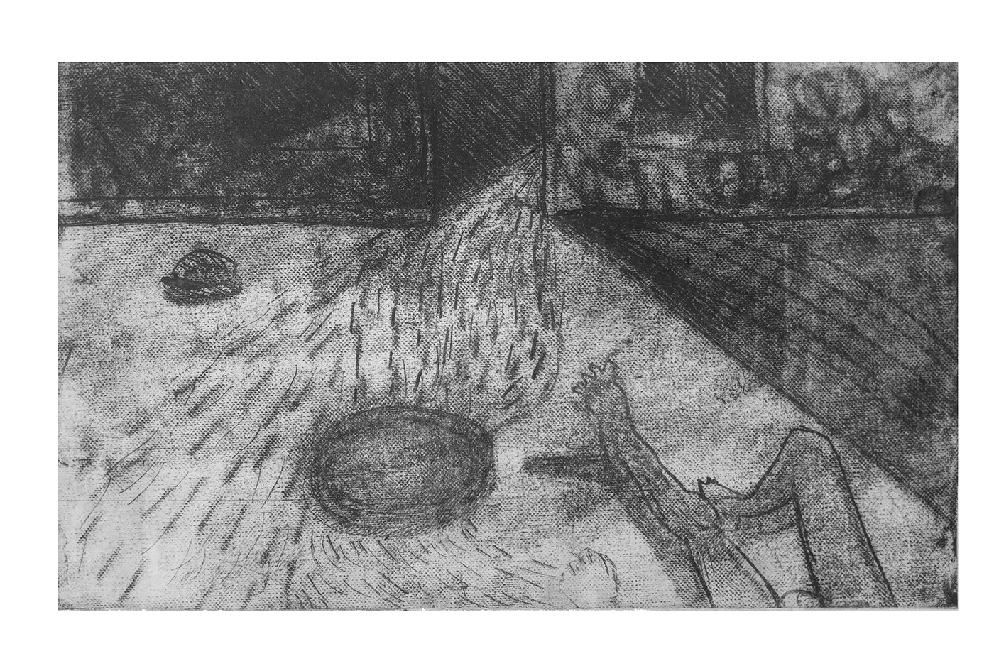 print printmaking Drawing  grayscale fine art body close up traditional Love