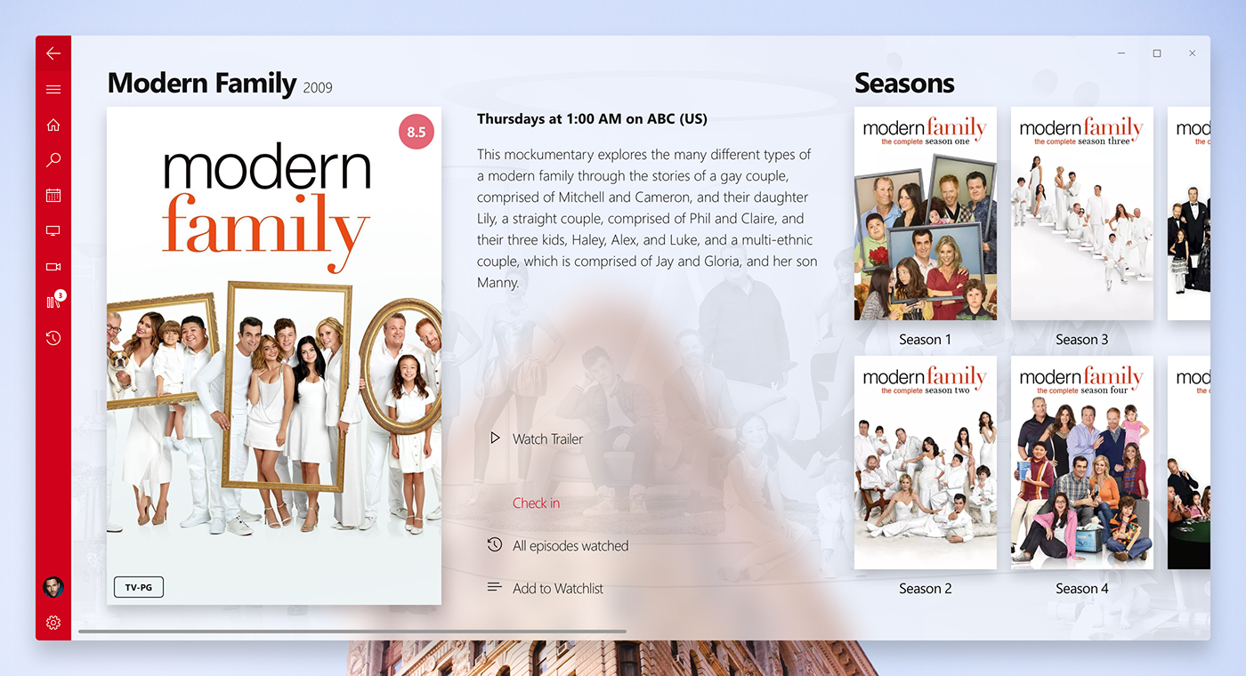 trakt Microsoft Project Neon TV shows fluent design