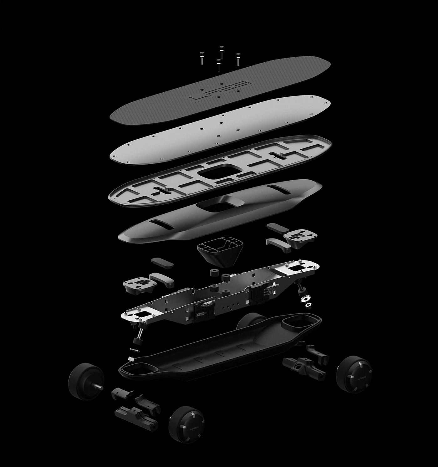 제품디자인회사 VLND의 디자인 디렉터 김승우가 디자인한 전동 스케이트보드의 구조.