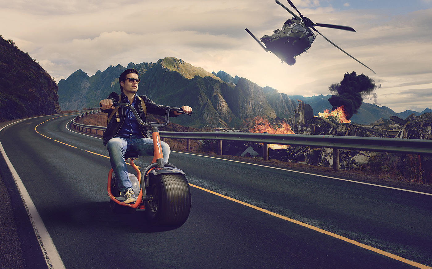 photoshop video manipulation epic Scooter road tutorial