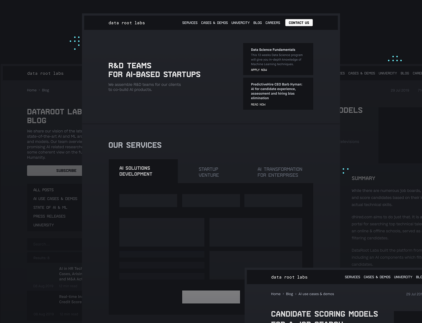 Big Data corporate data science design system outsource R&D Responsive service UI ux