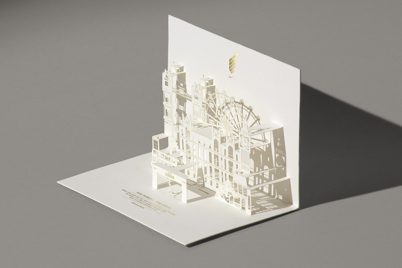 Nike Happycentro kirigami papercut invite