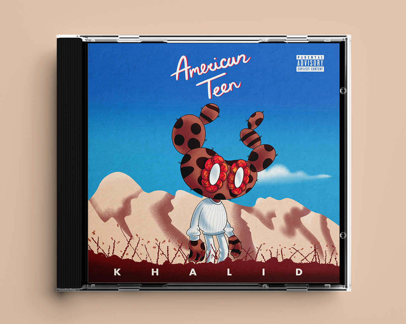 """Beppe the Prickly Pear illustrated, Imitating The iconic Album """"American Teen"""" by Khalid."""