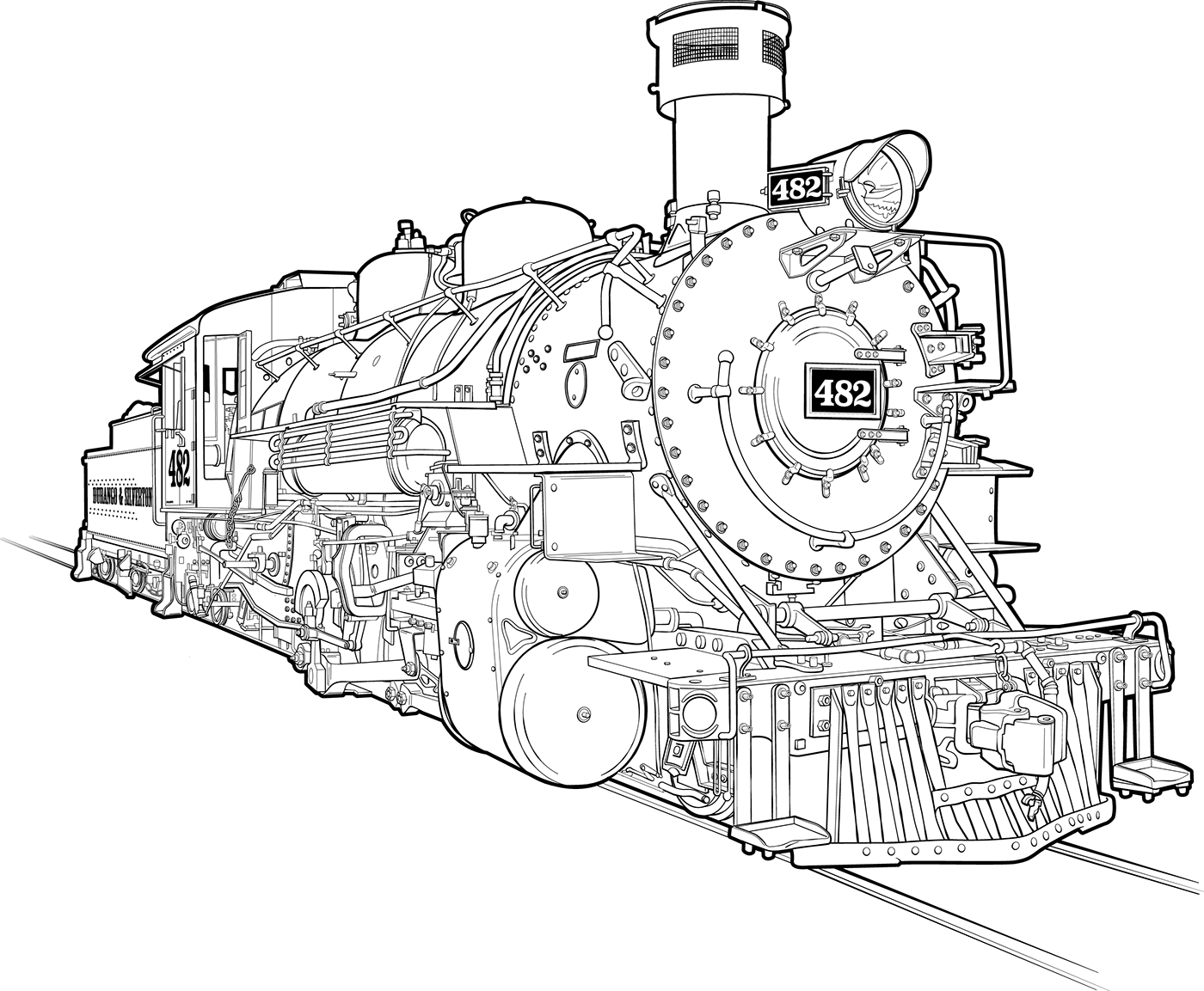 d u0026sng 482 steam engine line art tech illustration on behance