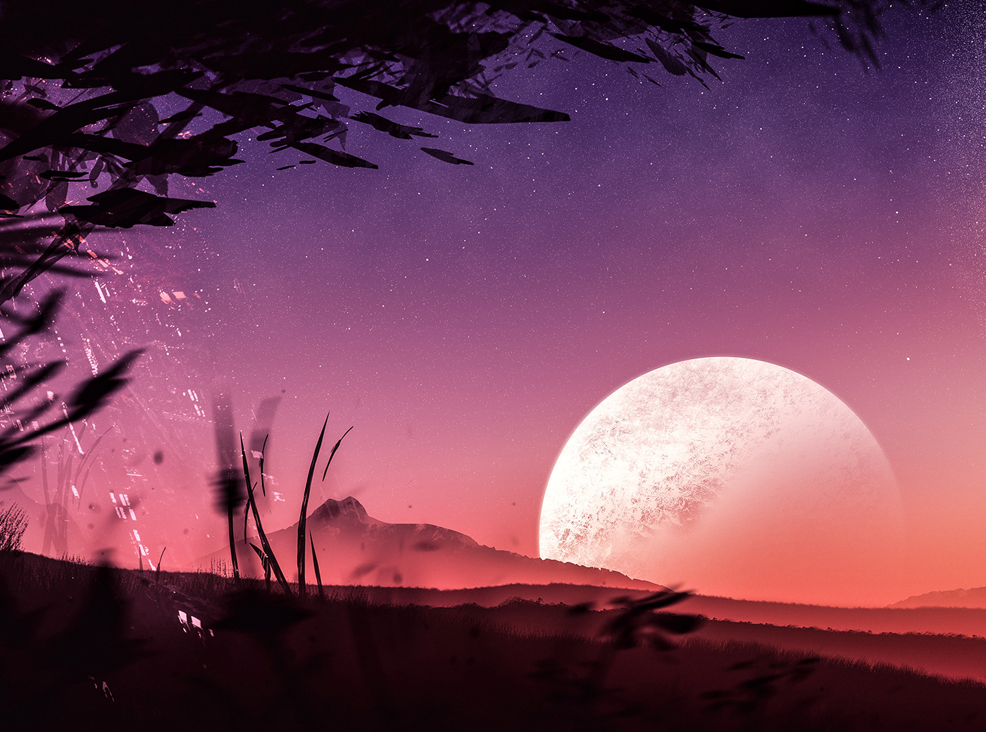 planet SKY Space  stars Landscape artwork
