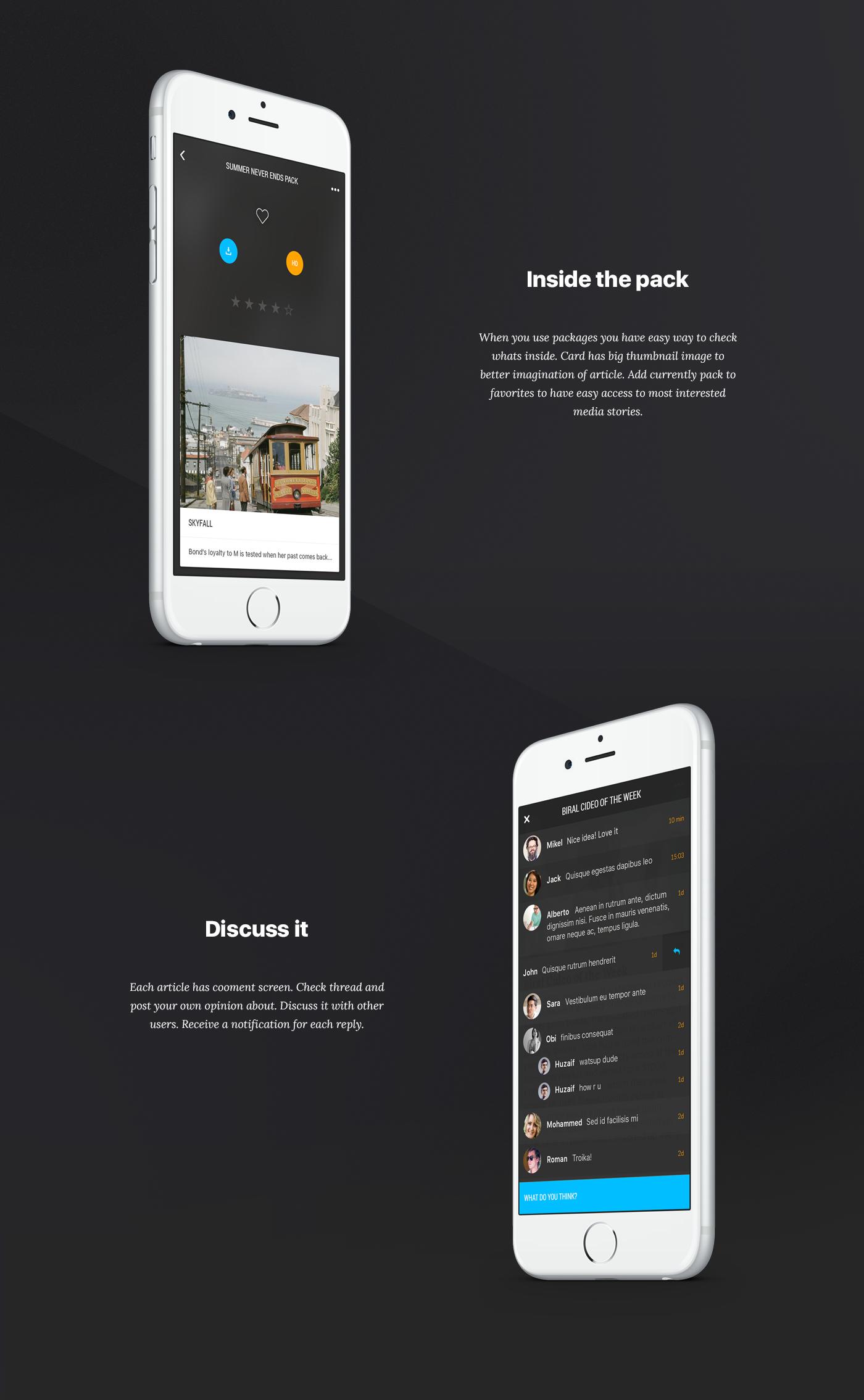 UI ux card package SWIPE gif motion mobile app ios