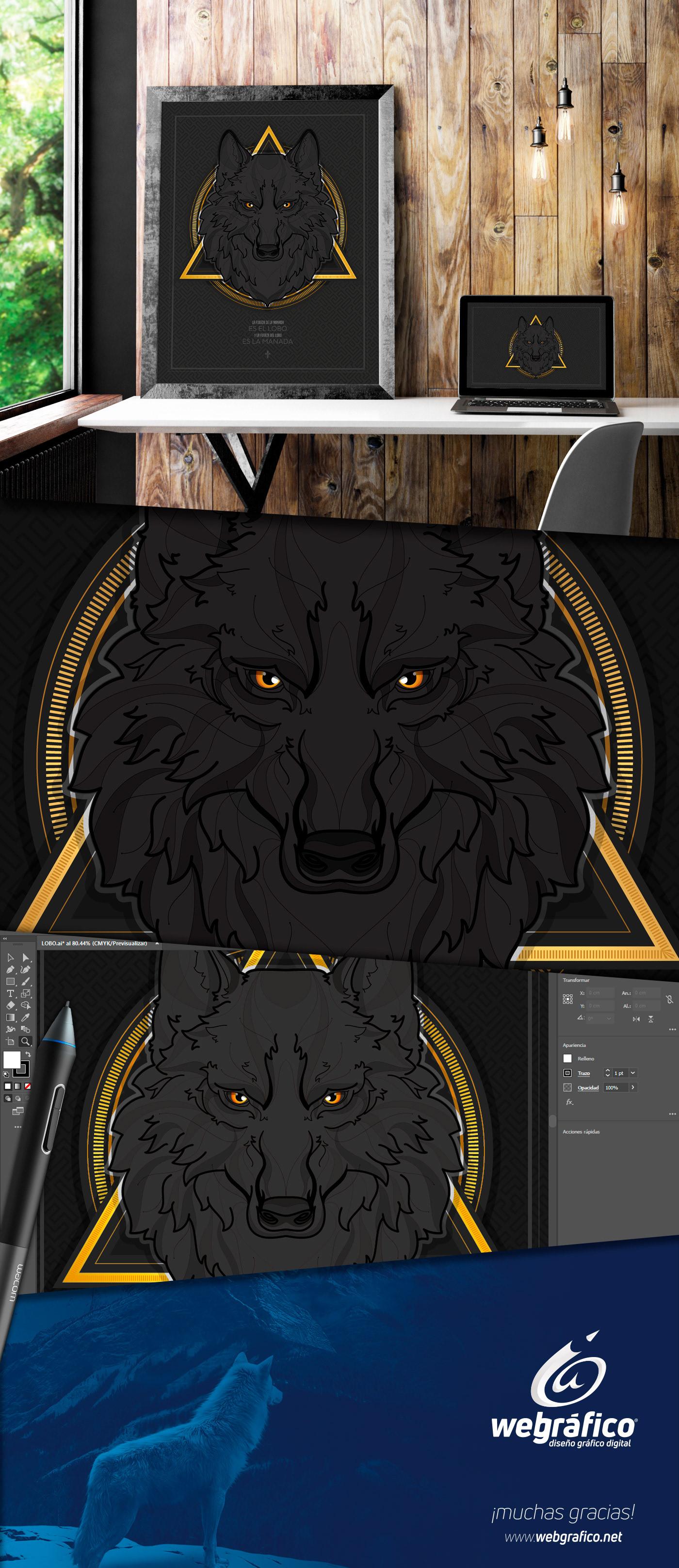 black wolf aguascalientes mexico ILLUSTRATION  digital Lobo negro webgrafico colunga