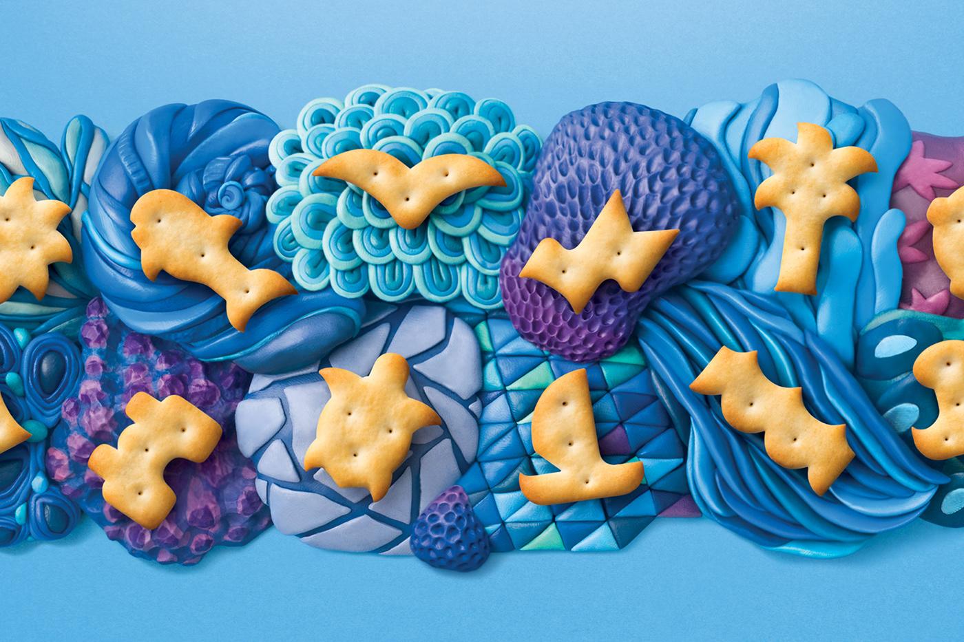 Pack Film   crackers cookies bag modeling clay sculpture food design snacks bakery