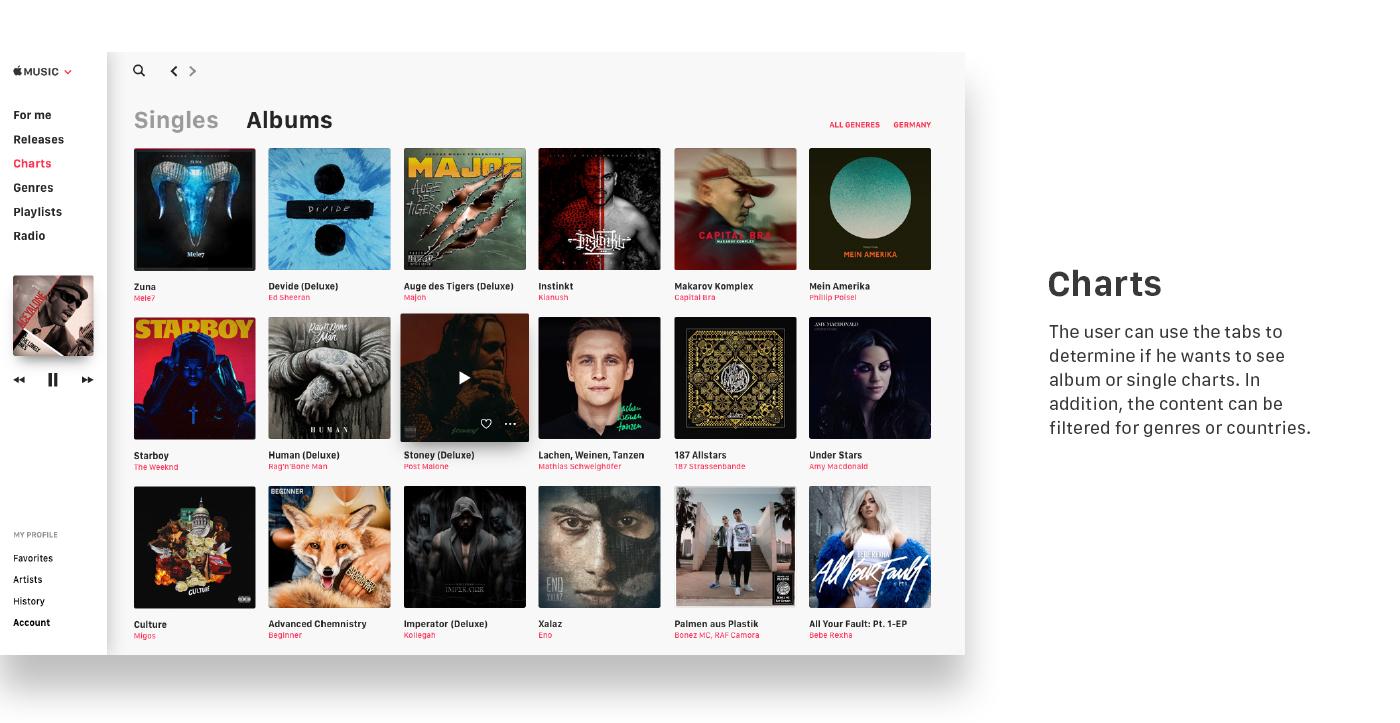 UI ux interaction design apple music Apple Music itunes redesign concept
