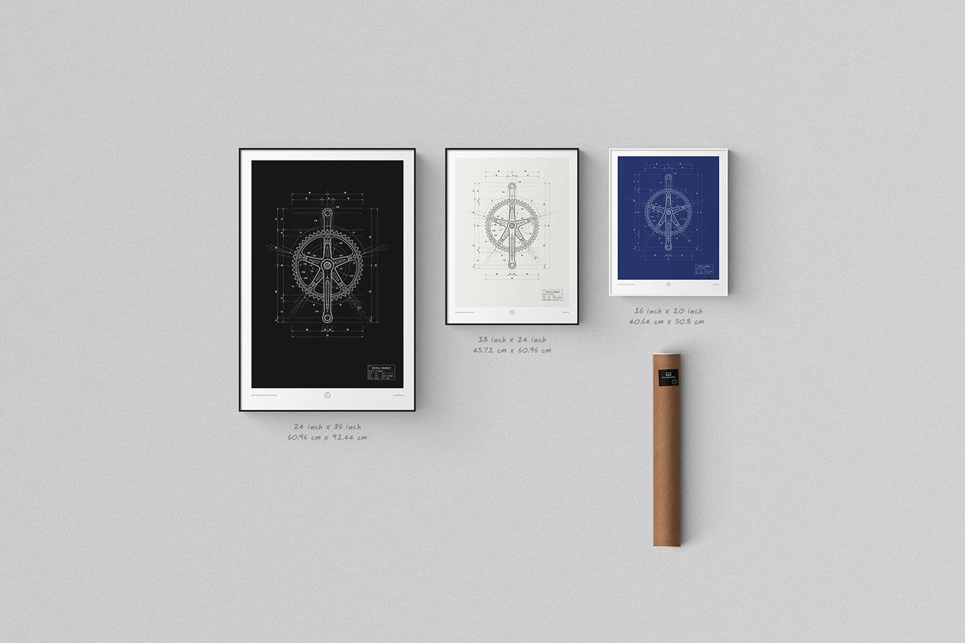 technical drawing Blueprint art print