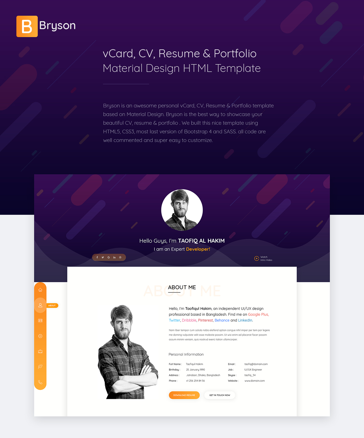 Bryson  Vcard  Cv  Resume  Portfolio Html Template On Behance