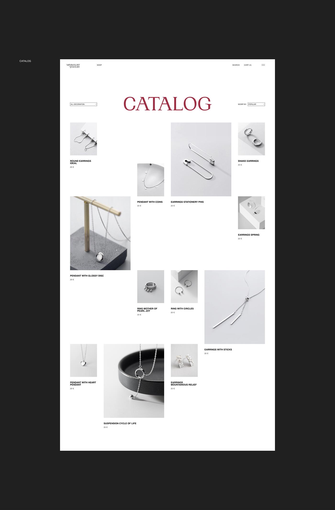 art Fashion  jewelry minimal minimalist modern modern fashion store typography   Web