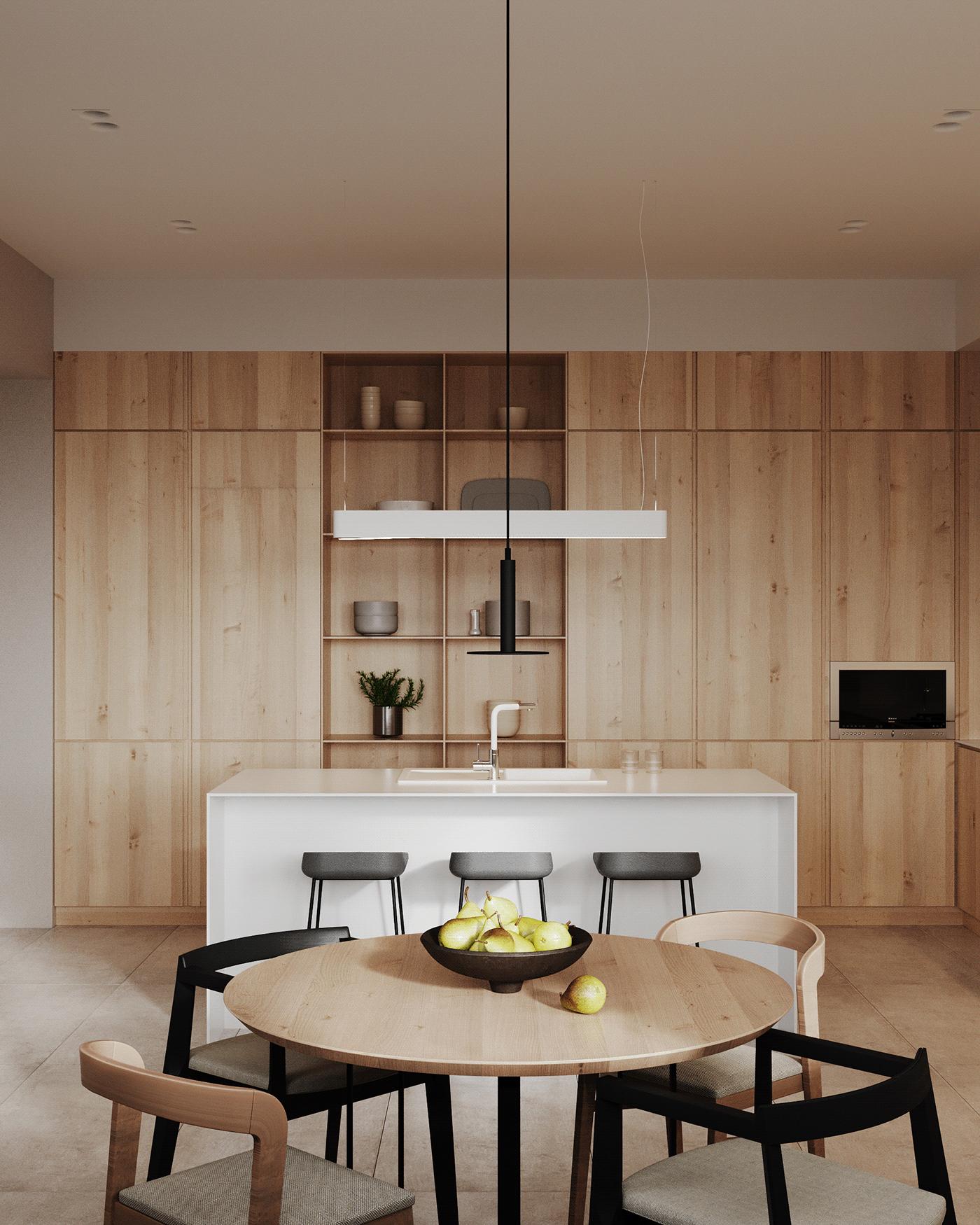 natural wood, natural wood kitchen room
