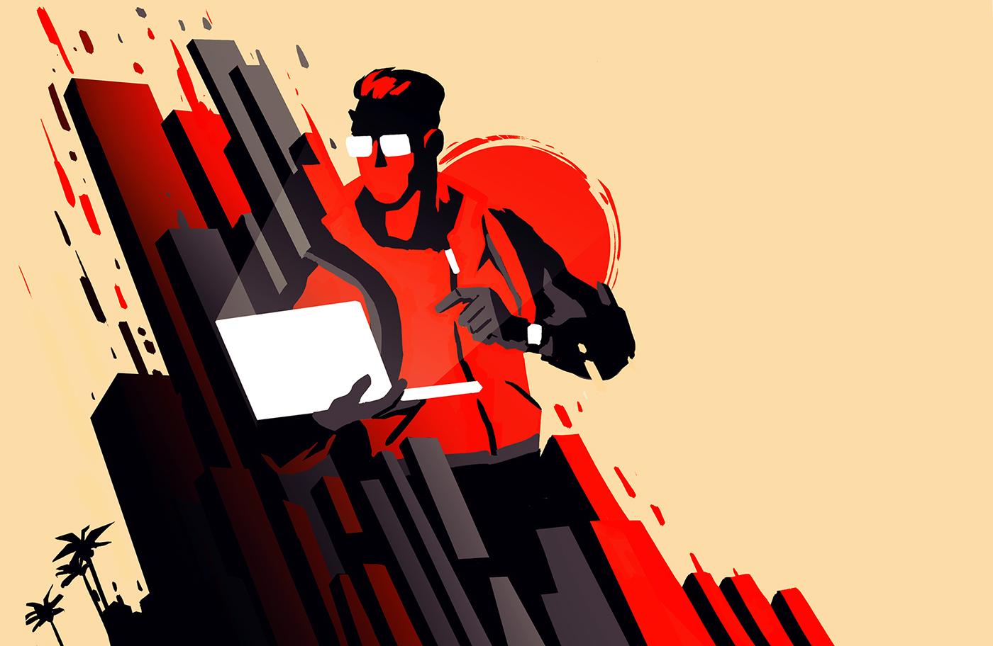 developer red city SuperHero Web graphic sketch rough