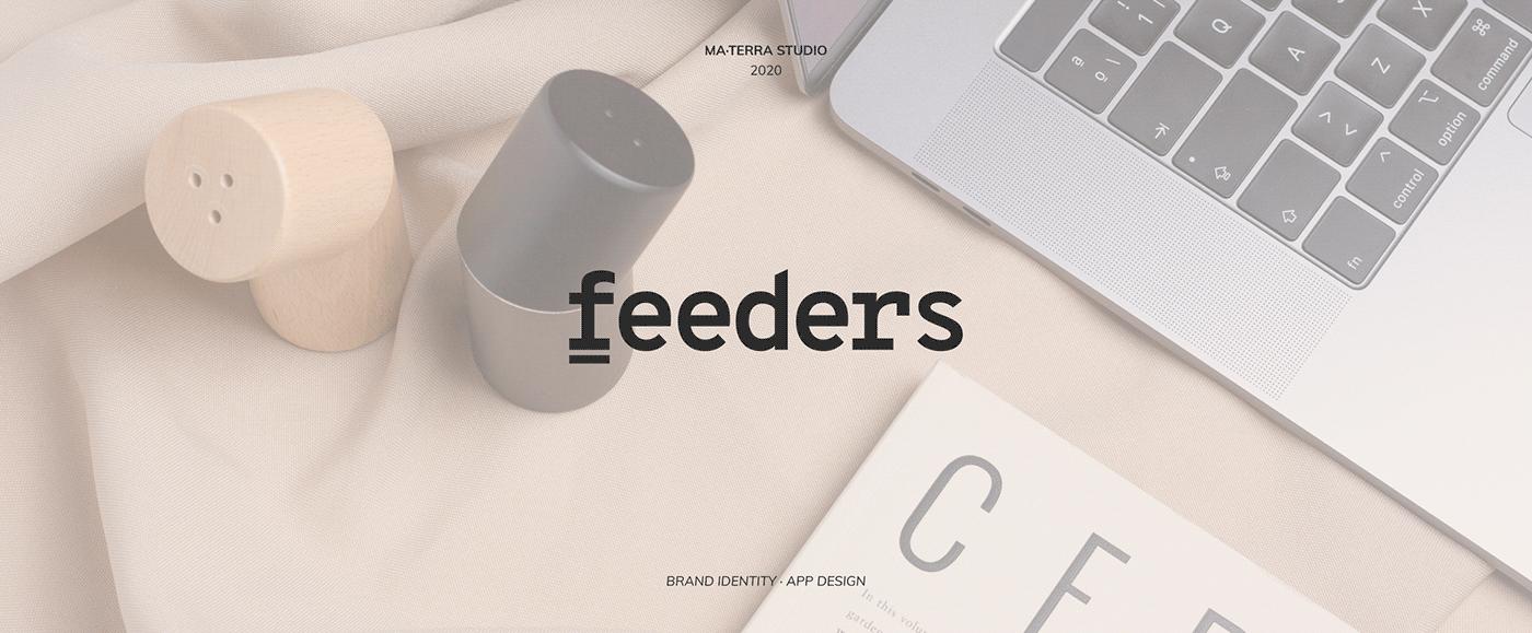 app design beer brand branding  comida diseño de marca Food  logo The Feeders ui ux