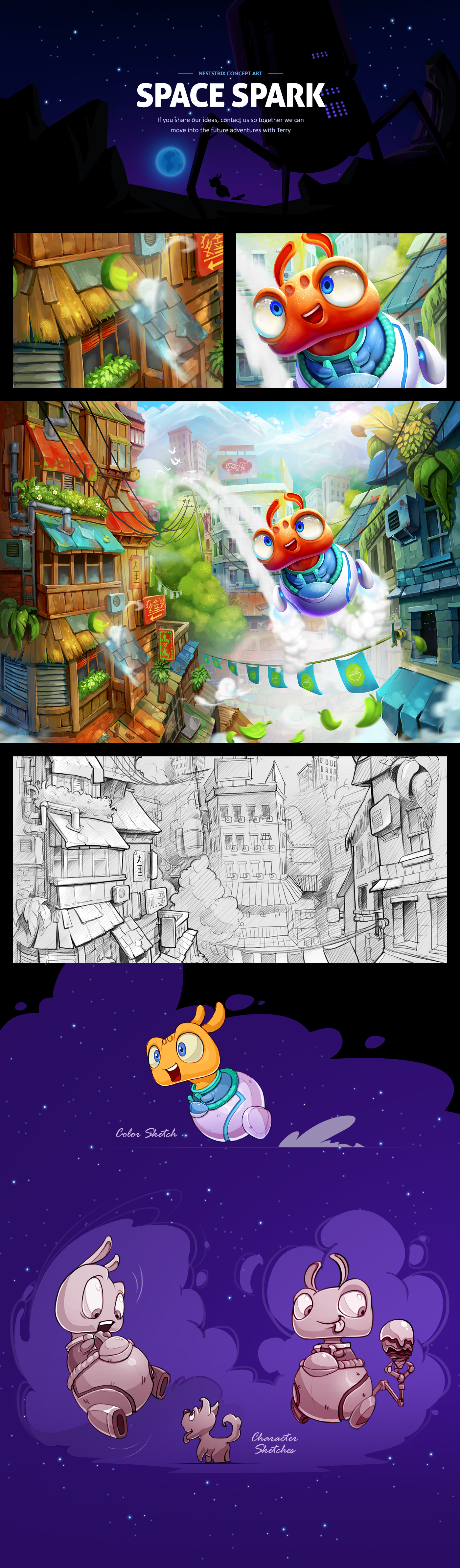 Character game sketch concept video game CG cartoon Game Art mobile game alien city