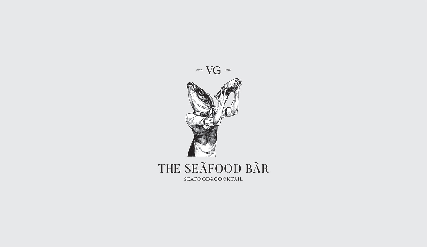 branding  bar restaurant fish logo Food  cocktail