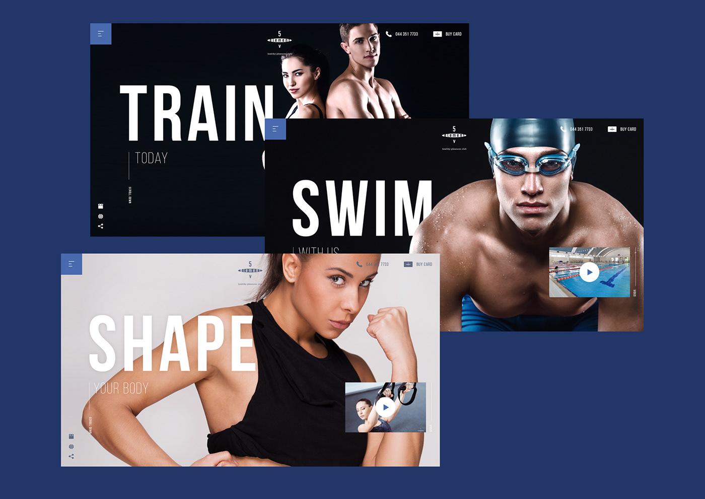 sport fitness gym element blue five Health beauty